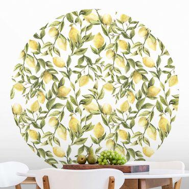 Carta da parati rotonda autoadesiva - limoni fruttato con foglie