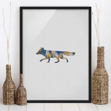 Poster con cornice - Volpe in blu e giallo