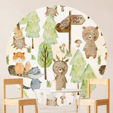 Carta da parati rotonda autoadesiva - Fox e l'orso con gli alberi