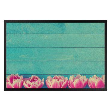 Zerbino - Pink Tulips on Turquoise