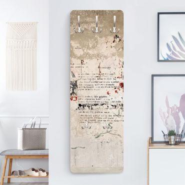 Appendiabiti effetto pietra - Vecchio muro di cemento con scritte