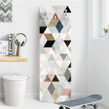 Appendiabiti disegni - Mosaico di triangoli in acquerello I