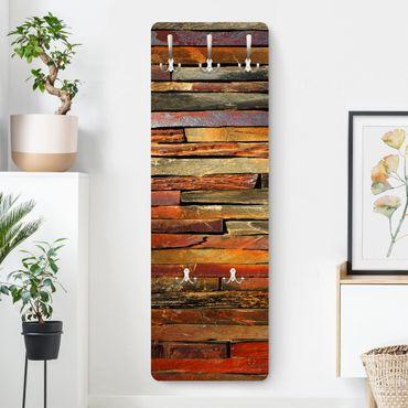 Appendiabiti marrone - Effetto legno accatastato - Stile provenzale