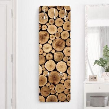 Appendiabiti da parete effetto legno - Legna da ardere