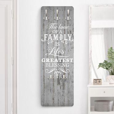 Appendiabiti - Scritta su legno shabby - Amore della famiglia