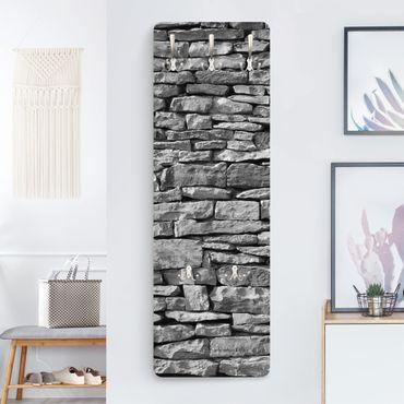 Appendiabiti effetto pietra - Parete in pietre grigie