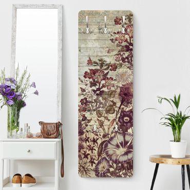 Appendiabiti shabby - Ottica floreale legno vintage II