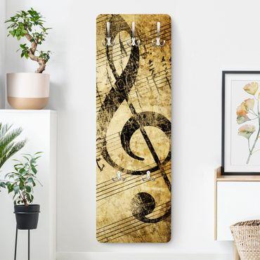 Appendiabiti da parete design vintage - Nota musicale - Marrone beige