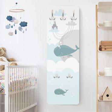 Appendiabiti bambini - Nuvole con castello e balena