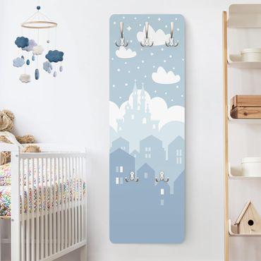 Appendiabiti bambini - Nuvole su castello In Blu