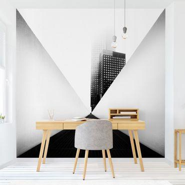 Carta da parati - Studio geometrico di architettura in bianco e nero