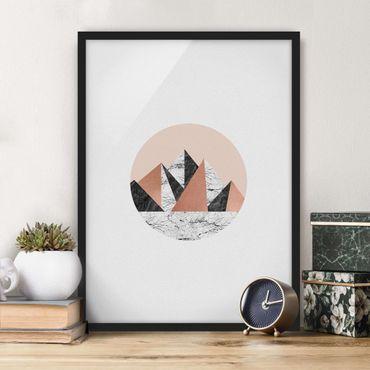 Poster con cornice - Paesaggio geometrico in un cerchio