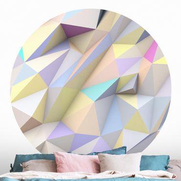 Carta da parati rotonda autoadesiva - triangoli pastello geometriche in 3D
