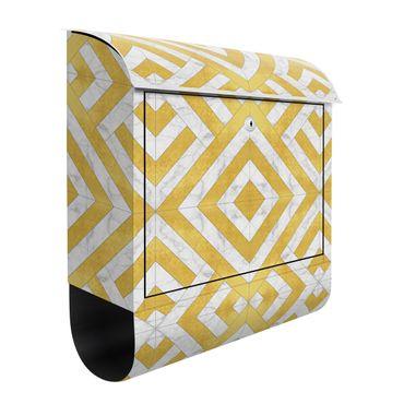 Cassetta postale - Mix geometrico di piastrelle Art déco in marmo dorato