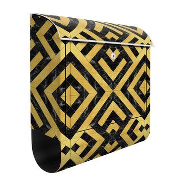 Cassetta postale - Mix geometrico di piastrelle Art déco in marmo dorato nero