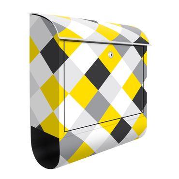 Cassetta postale - Trama geometrica con scacchiera rovesciata in giallo