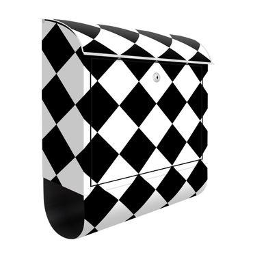 Cassetta postale - Trama geometrica con scacchiera rovesciata in bianco e nero