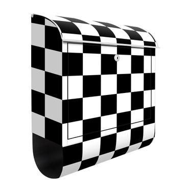 Cassetta postale - Trama geometrica di scacchiera in bianco e nero