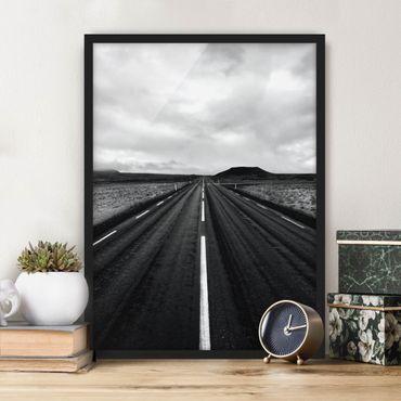 Poster con cornice - Strada dritta in Islanda