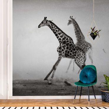 Carta da parati metallizzata - Caccia alla giraffa