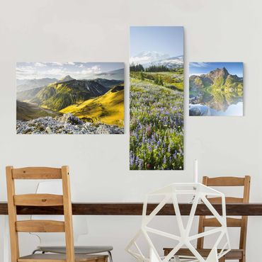 Quadro in vetro - Alps Mountain Views - 3 parti
