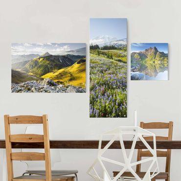 Quadro in vetro - Alps Mountain Views - 3 parti