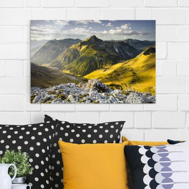 Quadro in vetro - Mountains and valley of the Lechtal Alps in Tirol - Quadrato 1:1