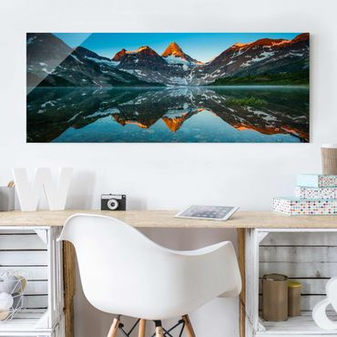 Quadro in vetro - Mountain Landscape at Lake Magog in Canada - Panoramico