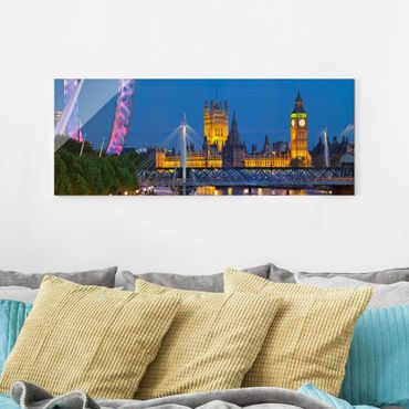 Quadro in vetro - Big Ben and Westminster Palace in London at night - Panoramico