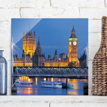 Quadro in vetro - Big Ben and Westminster Palace in London at night - Quadrato 1:1