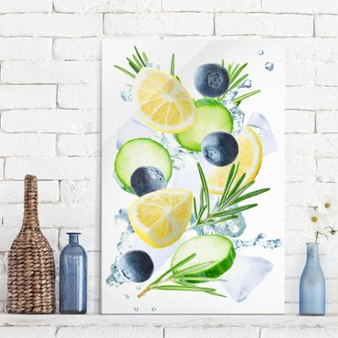 Quadro in vetro - Blueberries Lemon Ice Spash - Verticale 2:3