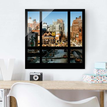Quadro in vetro - View from window on street in New York - Quadrato 1:1