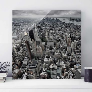 Quadro in vetro - View Over Manhattan - Quadrato 1:1