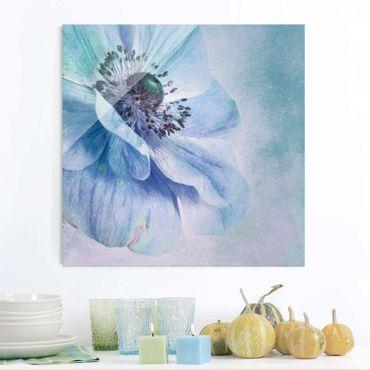 Quadro in vetro - Blossom in Turchese - Quadrato 1:1