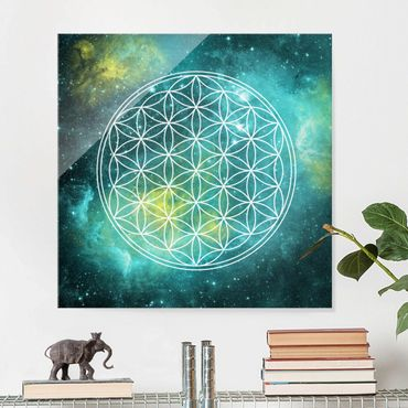 Quadro in vetro - Flower of life in the light of the stars - Quadrato 1:1