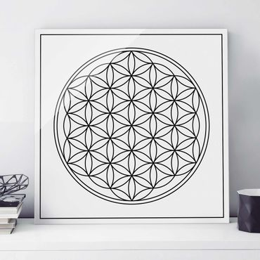 Quadro in vetro - Flower of life Black and White - Quadrato 1:1