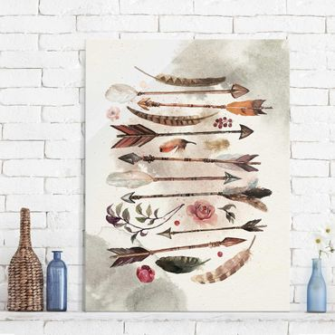 Quadro in vetro - Boho Arrows And Feathers - Watercolor - Verticale 3:4