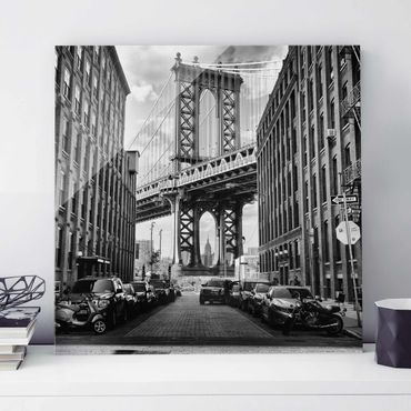 Quadro in vetro - Manhattan Bridge in America - Quadrato 1:1