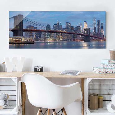 Quadro in vetro - Brooklyn Bridge Manhattan New York - Panoramico