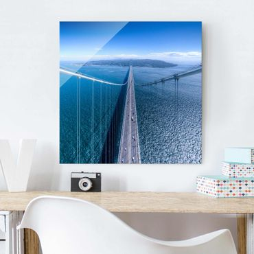 Quadro in vetro - Bridge to the Islanda - Quadrato 1:1