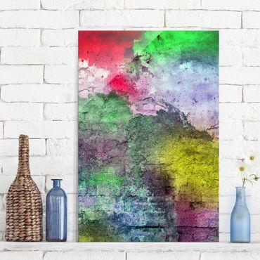 Quadro in vetro - Colourful sprayed brick wall - Verticale 2:3