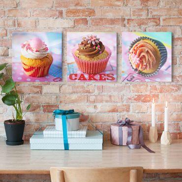 Quadro in vetro - Colorful Cupcakes - 3 parti
