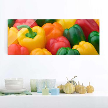 Quadro in vetro - Colorful Peppers - Panoramico