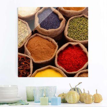 Quadro in vetro - Colourful Spices - Quadrato 1:1