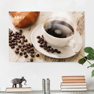 Quadro in vetro - Steaming Coffee Cup With Coffee Beans - Orizzontale 3:2