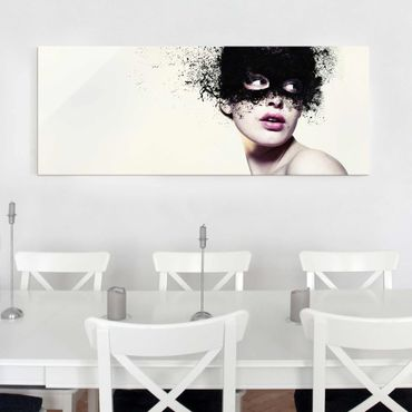 Quadro in vetro - The Girl With The Black Mask - Panoramico