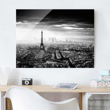 Quadro in vetro - La Torre Eiffel From Above Bianco e nero - Large 3:4