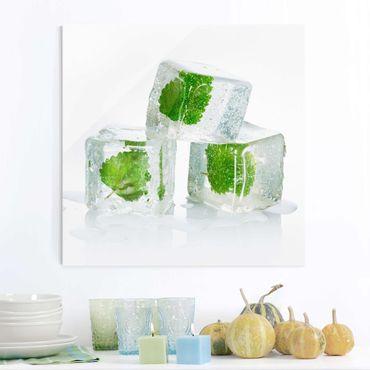 Quadro in vetro - Three Ice Cubes With Lemon Balm - Quadrato 1:1