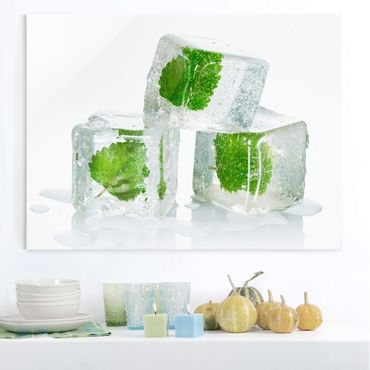 Quadro in vetro - Three Ice Cubes With Lemon Balm - Orizzontale 4:3