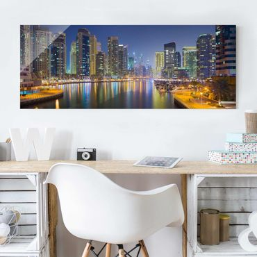 Quadro in vetro - Dubai night skyline - Panoramico